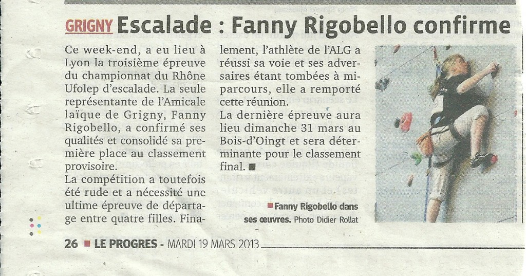 Le Progrès 19 mars 2013 - Fanny